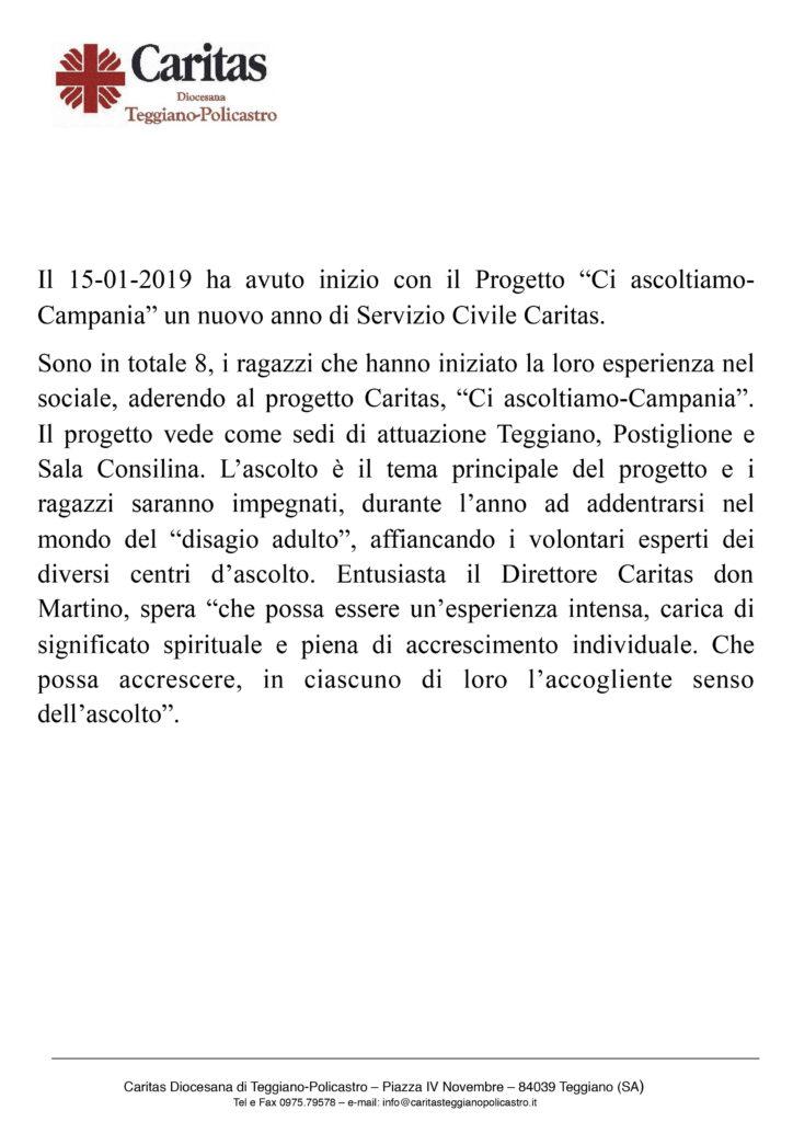 Comunicato stampa inizio servizio civile
